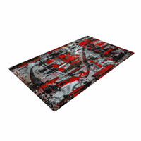 "Bruce Stanfield ""Zinger In Red"" Black Abstract Woven Area Rug"
