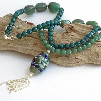 Jade Stone Necklace for Women, Tassel Necklace, Green Aventurine Necklace, Handcrafted Jewelry, Necklace with Pendant, Short Necklace
