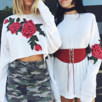 NEW  fashion sexy short embroidery flower round neck belly hollow long sleeve T-shirt