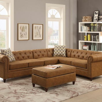 Poundex F6546 2 pc Masterpiece collection camel breathable leatherette upholstered sectional sofa with nail head trim accents