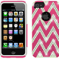 Swarovski Crystal Otterbox Commuter Case Cover for iPhone 5 / 5s & iPhone 4/4s (Pink/Green Chevron Stripe Pattern)