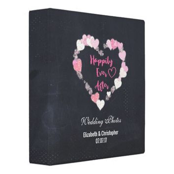 Happily Ever After Glittery Hearts Wedding Photo Binder