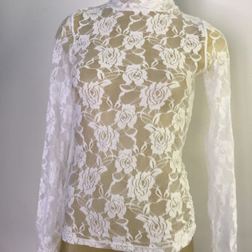 White Lace Turtleneck, See through lace top, mock turtleneck long sleeve lace shirt 90s stretch lace blouse vintage 90s pretty floral lace M