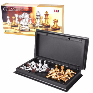 8 Inch International Foldable Magnetic Mini Board Golden Silver Chess Piece Party Supplies For Families Friends