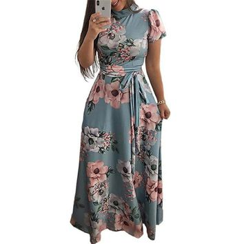 High Neck Floral Maxi Dress