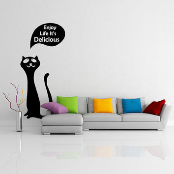 Vinyl Wall Decal Cute Happy Cat / Kitty with Quote Enjoy Your Life It's Delicious Sticker / Fridge Kitten Mural + Free Random Decal Gift!