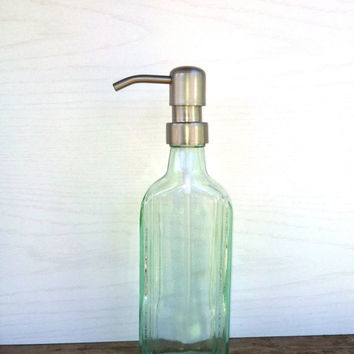 Glass Soap Dispenser Aqua Green Soap Dispenser Upcycled Vintage Bottle Soap Dispenser Metal Soap Pump The Chattanooga Medicine Co.