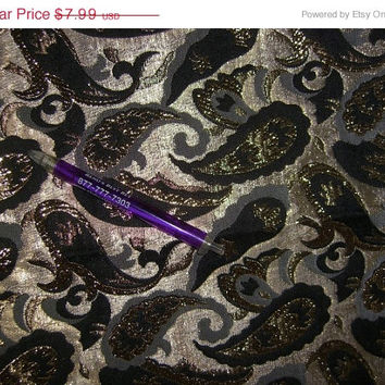 Paisley fabric black on gold paisley satin type material by the yard 1yd quilt sew quilting sewing