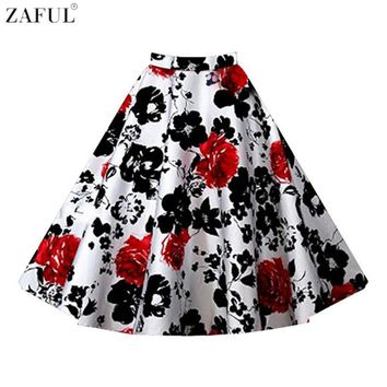 ZAFUL Brand Floral Print 60s Vintage Skirts Summer Women Casual Skirts Plus Size L~4XL Feminino Skirts Formal High Waist Skirts