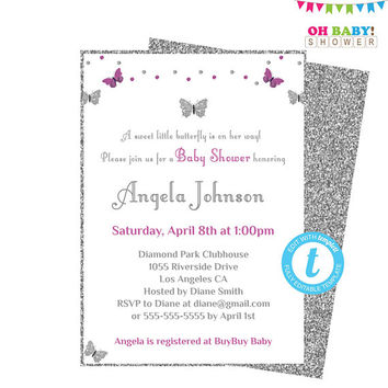Butterfly Baby Shower Invitation Girl, Silver and Purple Baby Shower Invitation, Editable Template, Printable Invites, Download, BTFPS