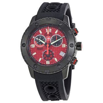 Swiss Military Rallye GMT Red Dial Mens Silicone Watch 2753