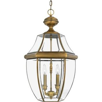 Quoizel Newbury Outdoor Extra-Large Hanging Lantern in Antique Brass