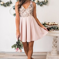 Picture Perfect Bow Back Dress (Dusty Pink)