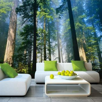 5D Papel Murals Forests Wallpaper Nature Fog Trees 3d Wall Photo Mural forest Wall paper for Background Bedroom 3D Wall Murals