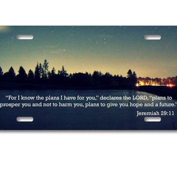 DistinctInk Custom Aluminum Decorative License Plate - Night Sky Lake Jeremiah 29:11