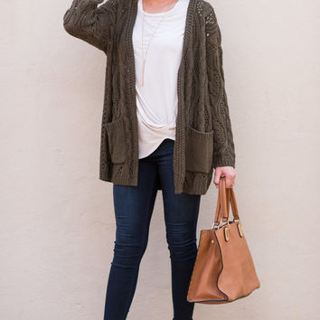 Cozy Up To Me Cardigan, Olive