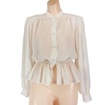 Peplum Blouse Peplum Shirt Women Shoulder Pad Blouse Peplum Top Sheer Blouse High Neck Blouse Bohemian Blouse Puffy Sleeve Shirt Ladies