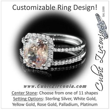 CZ Wedding Set, Style 12-82 feat The Gigi Engagement Ring (Customizable Halo Style with Pave Band)