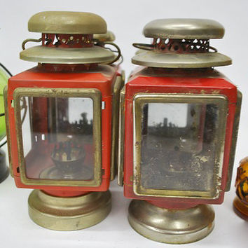 Vintage Red Oil Lamps -- Set of Four-- Antique, Rustic, Primitive Decoration
