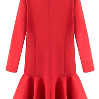Red Long Sleeve Trumpet Dress - Choies.com