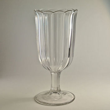 Glass Celery Vase with Panels and Scalloped Edg...