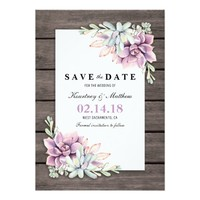 Save the Date Rustic Garden Succulent Floral Card