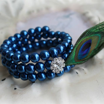 Bridal Jewelry Bracelet  - Royal Blue Pearl Peacock Feather Bracelet - Bridesmaids Gifts - Unique Statement Jewelry - Many Colors