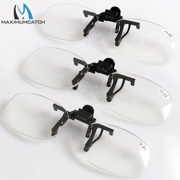 Maximumcatch Clip on Presbyopic eyewear magnifying presbyopic glasses+1.5+2.0+2.5Rimless Portable lens Reading fishing Glasses