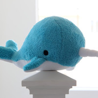 narwhal plush toy- Elodie- blue soft fluffy fleece whale narwal plushie