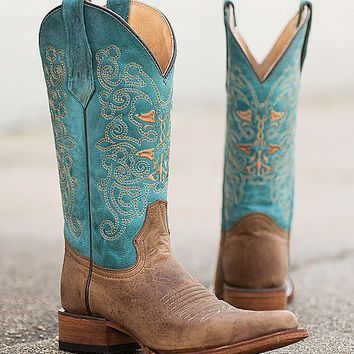 Circle G Two-Tone Square Toe Cowboy Boot