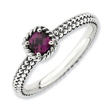 Stackable Expressions™ 4.0mm Cushion-Cut Rhodolite Ring in Sterling Silver
