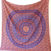 MANDALA FLORAL FABRIC Large Cotton Wall Tapestry Hippie Boho Bedspread Bedding Throw Wall Hanging Bohemian Ethnic Home Decor - FabricSarmaya