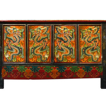 Chinese Tibetan Dragon Graphic Side Table Cabinet mh308S