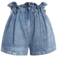 ROMWE Elastic Waisted Pleated Denim Shorts