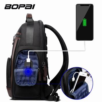 BOPAI Large Capacity Laptop Backpack Anti Theft USB Charging Fashion Men Shoulders Bag Travel Backpack Waterproof