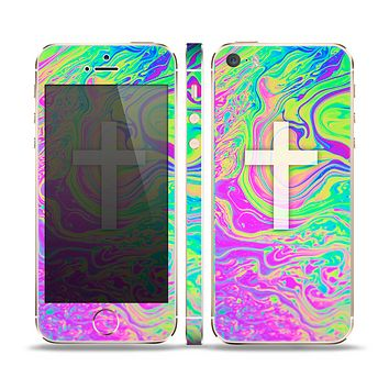 The Vector White Cross v2 over Neon Color Fushion Skin Set for the Apple iPhone 5s