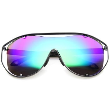 Eyewear Oversized Futuristic Shield Style Sporty Sunglasses Arctic Mirrored Shades