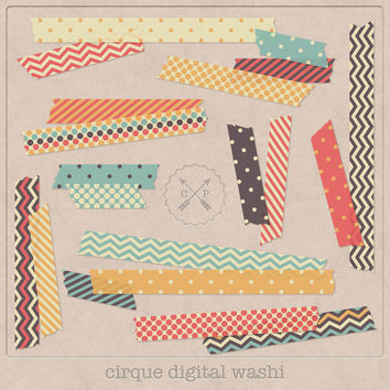 Digital Washi Tape Cirque. Slight transparent digital japanese tape Washi clipart chevron and polkadot perfect for scrapbooking card making