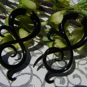 Fake Gauge Earrings, Split Gauge Earrings Organic Black Horn Fake Gauge Earrings Fancy Tribal by Anela