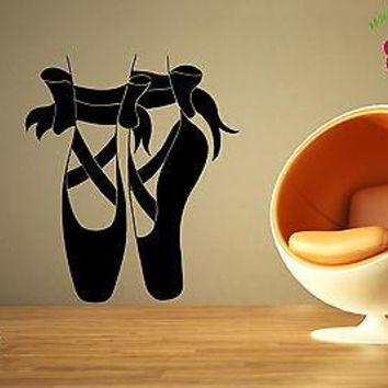 Wall Stickers Vinyl Decal Ballet Dancing Shoes Bows Classic Theater Unique Gift EM569