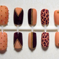 Nude and Burgundy / Plum / Maroon False Nails with Gold Bullion Beads and a Cheetah Print Accent Nail Set