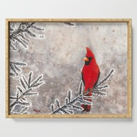 The Red Cardinal in winter Serving Tray by savousepate