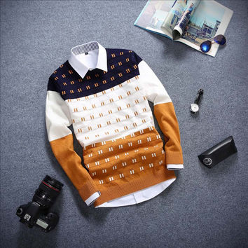 Long Sleeved Sweater Yellow  and Blue
