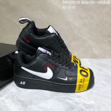 KUYOU N941 Off White Nike Air Force 1 af1 Low Skate Shoes Black Yellow