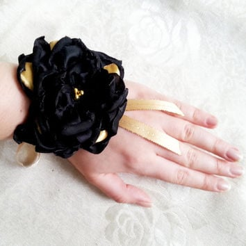 Wrist Corsage, Black chiffon satin gold flower, bridesmaid Corsage hand made silk flower