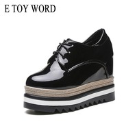 E TOY WORD Spring Autumn Women Shoes Height Increasing 10cm Waterproof Platform Shoes Patent Leather Retro Lace-up Flats Women