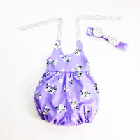 18 to 24 month girls romper baby romper summer romper bubble romper 100% cotton purple floral romper halter romper with girls headband