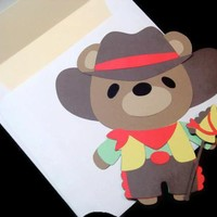 Cowboy Teddy Bear Card for Children Animal Cards Teddy Bear Card on Handmade Artists' Shop