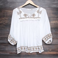 gauzy embroidered peasant blouse
