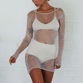 Sexy Women Mesh Sheer See-through Party Club Long Tops Shirt Fashion Backless O-Neck Stretch Slim Short Mini Dress Vestido